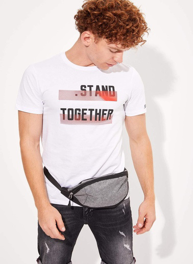 DeFacto Baskılı Slim Fit T-shirt Beyaz